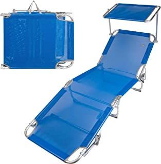 Aktive 62612 Tumbona plegable aluminio con parasol Beach, azul