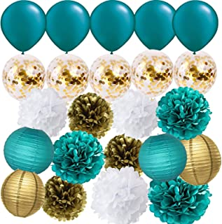 Furuix Teal Gold Baby Shower Decorations Wedding Bridal Shower Teal Gold Confetti Latex Balloons Teal Balloons Teal Engagement/Teal Gold Birthday Party Decorations