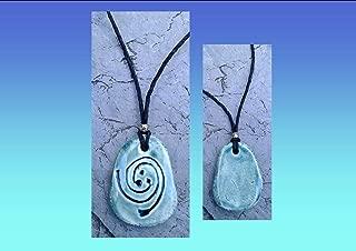 Koru Necklace Spiral Maori Pendant Ceramic Teal Fern Amulet New Life Growth Strength Peace Polynesian South Pacific