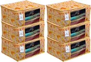 Kuber Industries Red Flower 6 Piece Non Woven Saree Cover, Large, Yellow-CTKTC014110