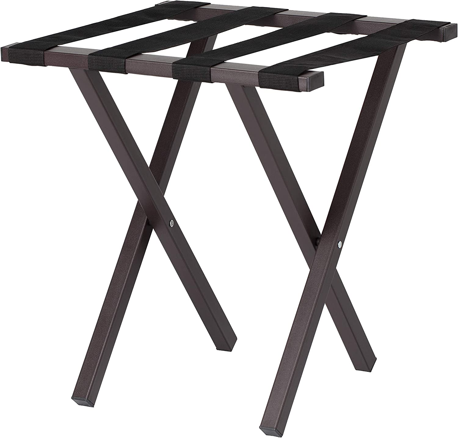 Wholesale Hotel Products Compact Metal Luggage Rack, Brown Powder Coat Finish, No Assembly Required