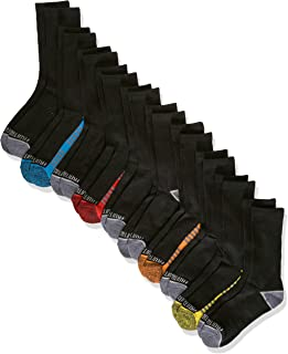 Fruit Of The Loom Big Boys' 10 Pack Crew Socks, White/Gray/ Blue/ Green/ Orange/Red, Shoe Size: 3-9