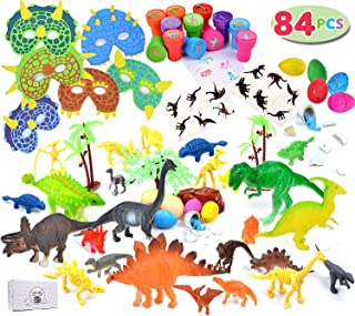 84 Pieces Dinosaur party favor pack perfect for party favors, carnival prizes, office prize boxes, classroom rewards and much more.