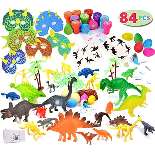 JOYIN 84 Pieces Kids Dinosaur World Party Favors Playset Including 6 Realistic