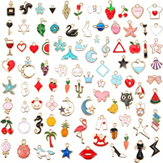 Hicarer 90 Pieces Assorted Gold Plated Enamel Dangle Charm Pendant for Jewelry Making