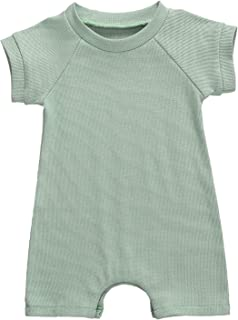 الصيف الرضع طفل الفتيان فتاة الصلبة مضلع رومبيرنويلين قصير الأكمام بذلة الزي 0-18 متر (Color : Green, Kid Size : 18Months)