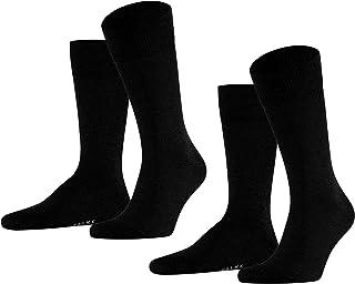 FALKE Socken Happy 2-Pack Baumwolle Herren schwarz grau viele weitere Farben verstärkte Herrensocken ohne Muster atmungsaktiv dünn und einfarbig im Multipack 2 Paar