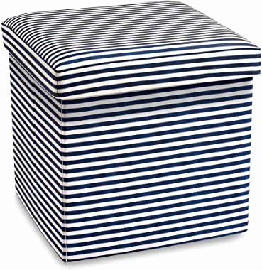 15 inches Storage Ottoman Cube, ARTICTERN, Premium Canvas Fabric, Comfortable Seating, Foldable Foot Stool Ottomans for Dorm