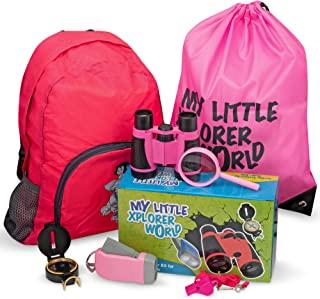 Upgraded Outdoor Exploration Kit with Toy Binoculars for Kids, Outdoor Toys include Magnifying Glass, Flashlight, Compass,...