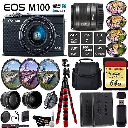 $455 Get Canon EOS M100 Mirrorless Digital Camera (Black) with 15-45mm Lens + UV FLD CPL Filter Kit + 4 PC Macro Kit + Wide Angle & Telephoto Lens + Camera Case + Tripod + Card Reader - International Version