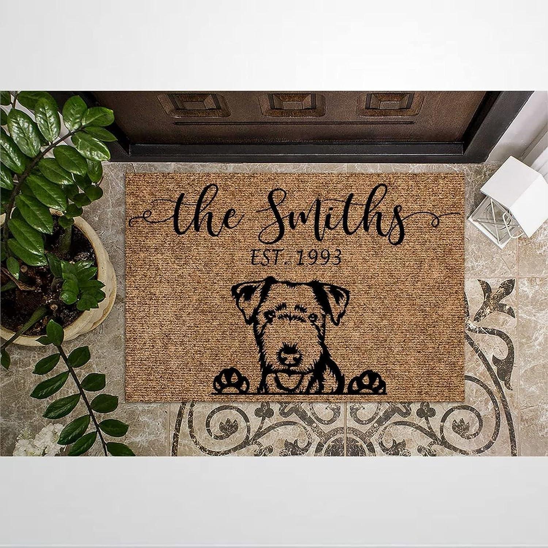 Lakeland Terrier Latest item Personalized Coir Doormat Selling rankings Rustic Door Welcome M