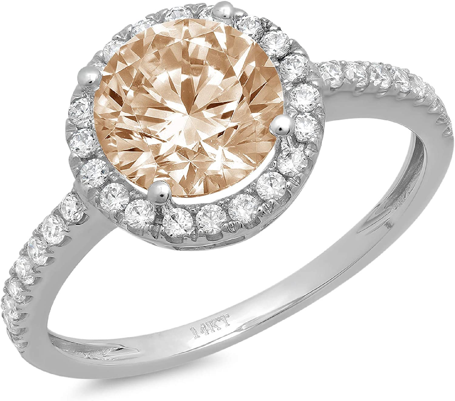 1.79ct Brilliant Round Cut Solitaire halo Brown Champagne Ideal VVS1 Simulated Diamond CZ Engagement Promise Statement Anniversary Bridal Wedding with accent Ring 14k White Gold