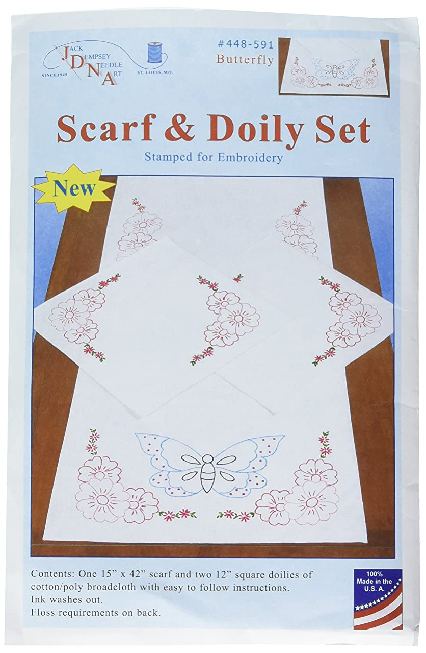 Jack Dempsey Needle Art 448591 Butterfly Embroidery Kit, White
