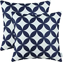 CaliTime Pack of 2 Soft Canvas Throw Pillow Covers Cases for Couch Sofa Home Decoration Modern Circles Rings Chain Geometric 18 X 18 Inches Navy Blue
