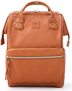 Kah&Kee Leder Rucksack Wickeltasche mit Laptopfach Travel School für Damen (Kamel, Groß)