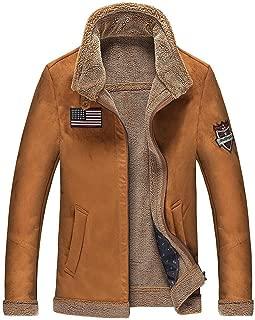 JEWOSOR Mens Warm Faux Suede Aviator Jacket Smart Casual Retro Motorcycle Jacket Outwear Coat