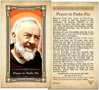 Padre Pio Laminated Holy Card - Pack of 25
