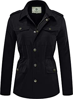 Women's Lapel Canvas Twill Military Anorak Jacket with Drawstring
