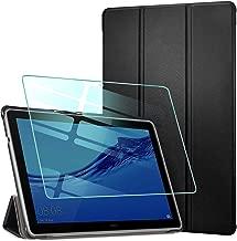 AROYI Funda para Huawei MediaPad T5 10 + Protector Pantalla, Carcasa Silicona TPU Smart Cover Case con Soporte Función para Huawei MediaPad T5 10 10,1 2018 - Negro
