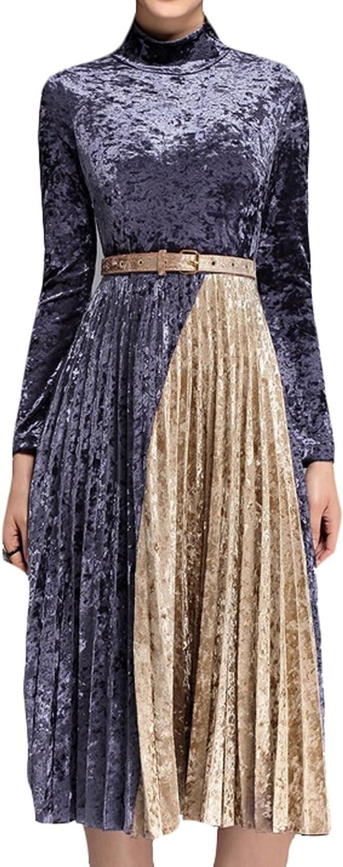 GAGA Women's Long Sleeve Warm Velvet Pleated Dress