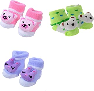SHOP FRENZY Kids Baby boy and Baby Girl Bootie/Shoes/Socks Set of 3 Pair (0-3 Months)