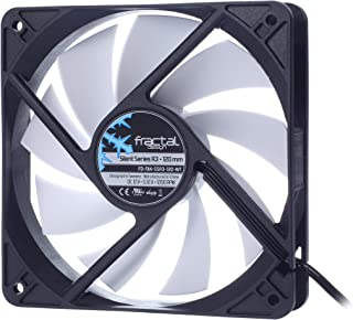 Fractal Design Silent Series R3 White - Silent Computer Fan - Optimized for Quiet Operation - 120 mm - Rotational Speed 1200 RPM - Black Ribbon Cable - Rifle Bearings - 12V - Black/White (Single)