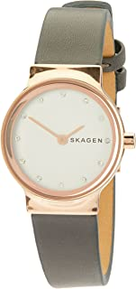 Skagen Freja Grey Stainless Steel & Leather Watch SKW2669