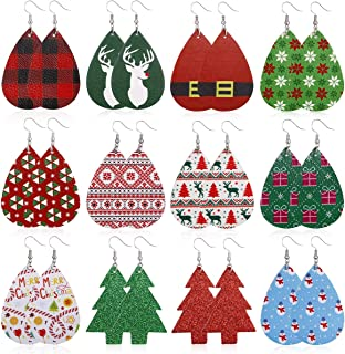 AIDSOTOU 12-16 Pairs Christmas Faux Leather Earrings Set for Women Teardrop Dangle Earrings Xmas Jewelry Accessory Gifts