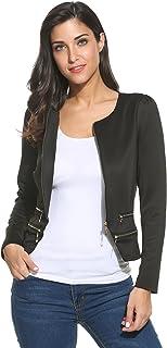 Zeagoo Women`s Casual Zipper Cardigan Blazer O Neck Slim Fitted Office Jacket