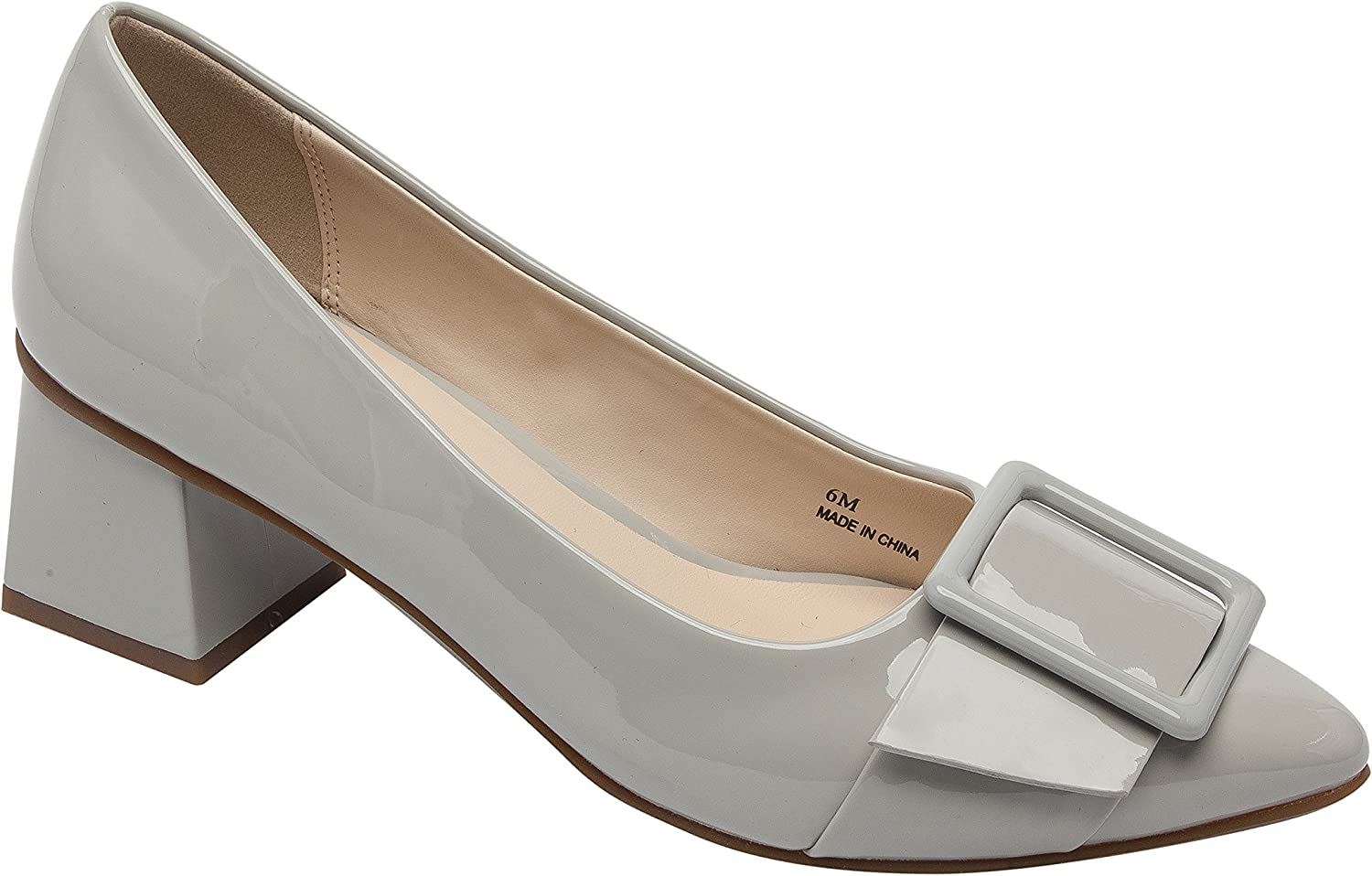 Pic & Pay Finlee   Women's Square Mid-Height Heel Comfortable Pointy Toe Belted Vegan Patent Pump Grey Vegan Patent 9.5M