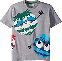 Fendi Kids Short Sleeve Logo Fur Monster Graphic T-Shirt (Little Kids)