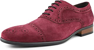 Genuine Cow Suede Cap Toe Lace Up Oxford with Decorative Perforations Dress Shoe, Style AG2201