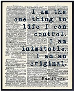 Inspirational Hamilton Quote Wall Art Decor Dictionary Print - 8x10 Upcycled Motivational Home Decoration Poster for Bedroom, Office - Gift for History Fans - UNFRAMED