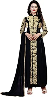 Ethnic Empire Women's Georgette Semi Stitched Salwar Suit(Ethnic_ER110122_ Black_Free Size)