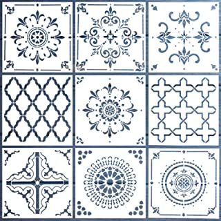 LOCOLO Mandala Stencil - 9 Pcs Reusable Stencils (6x6 inch) Laser Cut Painting Template for Painting Mandala Designs on Wood, Wall, Tile, Rocks and Walls Art