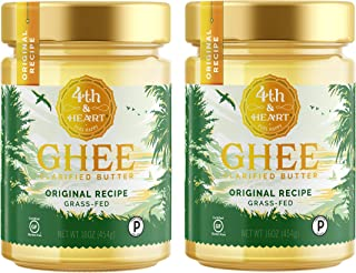 Original Grass Fed Ghee Butter by 4th & Heart, 32 Ounce (2 x 16oz Jars), Pasture Raised, Non-GMO, Lactose and Casein Free, Certified Paleo and Keto
