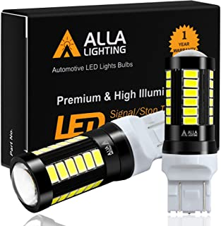 Alla Lighting 2800lm T20 7440 7443 LED Bulbs, White Reverse/Signal/Brake Tail/DRL Lights 7444 7443LL 7441 W21W 6000K Xenon...