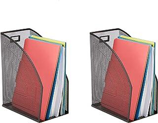 Mind Reader JMAG2-BLK 2 Piece Jumbo, Mesh Holder, Office Desk Accessories Decorative File Box, Sturdy Magazine Organizer, Black