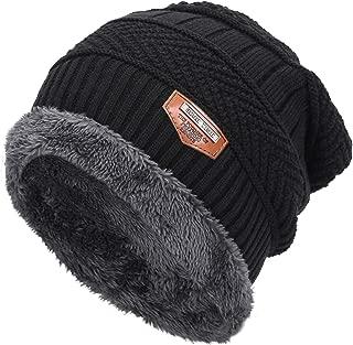 Mens Warm Winter Fleece Lined Knit Beanie Hat & Scarf Baggy Oversized Slouchy Beanie Skull Cap Ski Hat