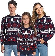 Aibrou Suéter de Navidad Familia Pullover de Punto Jerséis para Mujer Hombre Invierno Manga Larga Jersey Navideño para Niño Niña