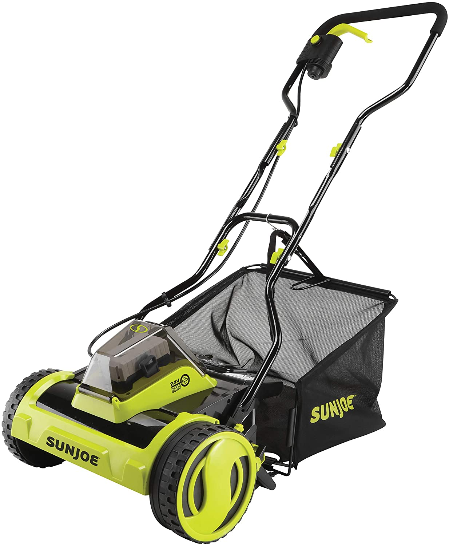 Kit Sun Joe 24V-CRLM15 24-Volt iON Cordless Push Reel Mower w//Rear Collection Bag w// 4.0-Ah Battery + Charger
