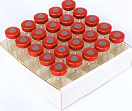 ACS 10ml Sterile Tubular Glass Vial 25pk with Red Aluminum Seals and Butyl Stopper