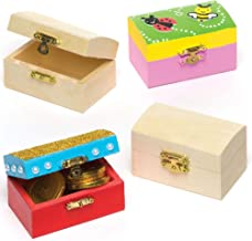 Baker Ross Mini Wooden Jewellery Box Treasure Chests, Creative Arts and Crafts for Kids (Pack of 4), 8cm x 5cm