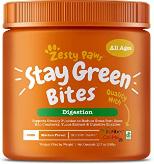 Zesty Paws Stay Green Bites for Dogs - Grass Burn Soft Chews for Lawn Spots Caused by Dog Urine - Cran-Max Cranberry for U...