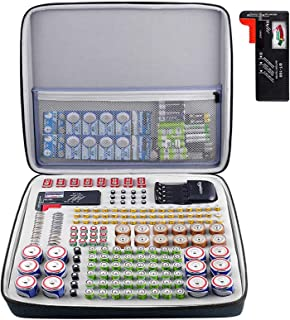 Battery Organizer Storage Box with Battery Tester (BT168), Case Bag Holder fits for 184 Batteries AA AAA AAAA 9V 6V C D Li...
