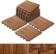 "Acacia Wood Tile Flooring, Patio Pavers & Composite Decking | Interlocking Patio Tiles for Outdoor & Indoor | Stripe Pattern 12""×12""- Pack of 11 Tiles"
