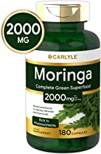 Moringa Oleifera 2000 mg 180 Capsules – Complete Green Superfood | Non-GMO,Gluten Free | from Moringa Leaf Powder | by Carlyle