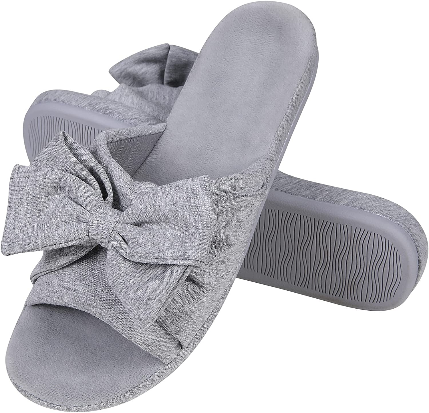 Beslip Bow Summer Slippers for Wome Open Toe Slip-on House Slippers with Arch Support