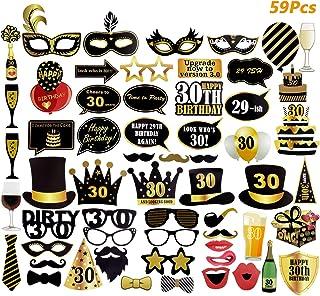 Comius 59 Pcs 30th Fiesta de cumpleaños Apoyos de Photo Booth Suministros divertidos de la decoración de la celebración del cumpleaños