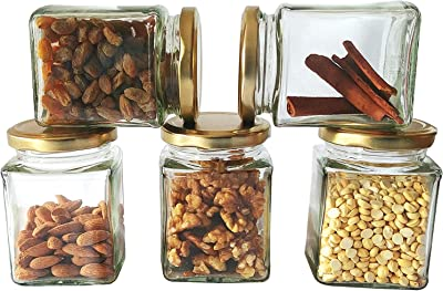 Glass Jar and Containers 280ml with Rust Proof, Air Tight Cap to Store Spices, Dry Fruits Etc, Fancy Square Shape(Set of 12)